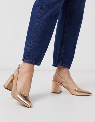 Asos DESIGN Sammy slingback mid heels in rose gold