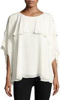 IRO Graham Lace Sleeve Ruffle Blouse, White