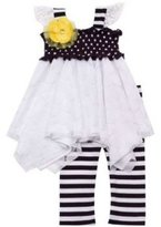 Rare Editions Smocked Lace Dot and Striped Legging Set 4T by