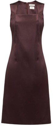 Bottega Veneta Square-neck Satin Midi Dress - Burgundy