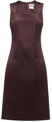 Bottega Veneta Square-neck Satin Midi Dress - Womens - Burgundy