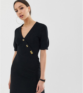 Asos Tall DESIGN Tall mini textured pencil dress with faux horn buttons
