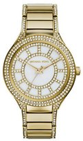 Michael Kors Mid-Size Golden Stainless Steel Kerry Three-Hand Glitz Watch