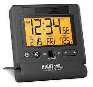 Marathon Atomic Travel Alarm Clock With Auto Back Light Feature, Calendar and Temperature