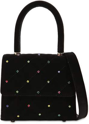 Les Petits Joueurs Baby Alex Quilted Velvet Bag W/ Crystals