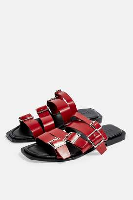 Topshop Womens Felix Leather Red Buckle Sandals - Red