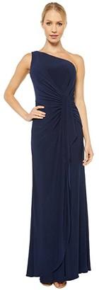 Adrianna Papell One Shoulder Jersey Dress (Midnight) Women's Dress