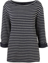 Topshop Navy Oversize Breton Stripe Sweat Top