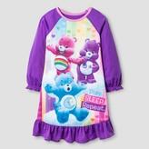 Toddler Girls' Care Bears Long Sleeve Nightgown Purple