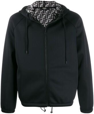 Fendi Monogrammed Lining Zipped Hooded Jacket