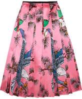 Gucci Pleated Printed Silk-satin Midi Skirt - Pink