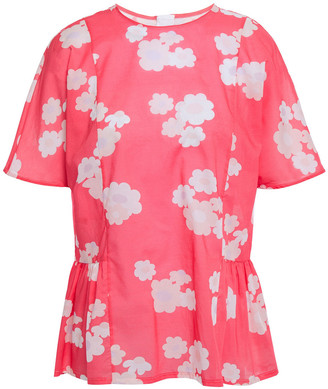Marni Gathered Floral-print Cotton-voile Peplum Top