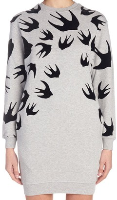McQ Swallow Print Sweatshirt Dress