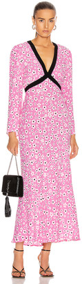 Rixo Tania Dress in Pink, White & Red Micro Mod Floral   FWRD