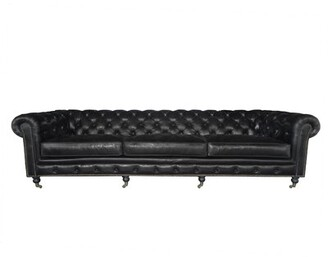 Davion Genuine Leather Chesterfield Sofa 17 Stories