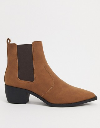 ASOS DESIGN cuban heel western chelsea boots in tan faux leather with angular sole