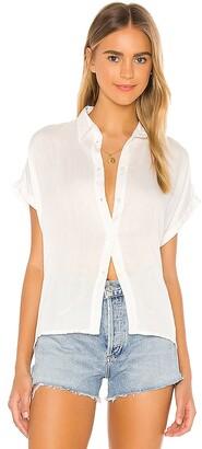 Indah Eliza Solid Button Down Short Sleeve Shirt