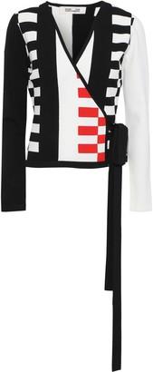 Diane von Furstenberg Ellis Intarsia-knit Wrap Top
