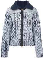 Maison Margiela cable knit printed cardigan