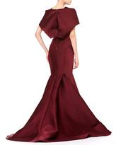 Zac Posen Stretch Duchesse Cape Gown, Bordeaux