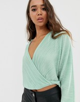 Asos Design DESIGN wrap top in plisse with batwing sleeve