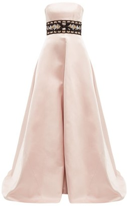 Prada Crystal-waistband Silk-satin Gown - Womens - Pink Multi