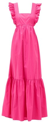 Self-Portrait Ruffled Square-neck Cotton Maxi Dress - Pink
