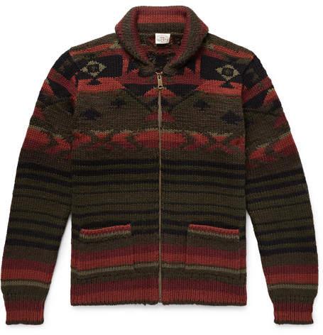 Winter Woods Shawl Collar Wool Blend Jacquard Zip Up Cardigan