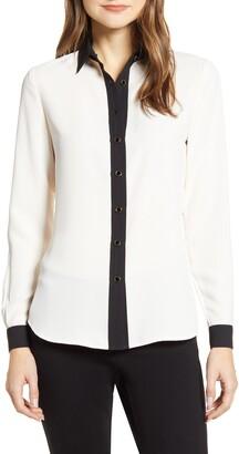 Anne Klein Contrast Detail Button-Up Blouse
