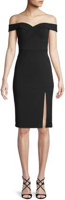 Aidan Mattox Knee-Length Off-The-Shoulder Sheath Dress