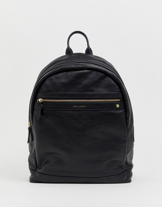 Asos DESIGN leather backpack in black saffiano with gold zips and emboss