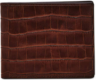 Fossil Men Darcy Croc-Embossed Flip Id Leather Wallet