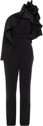 Badgley Mischka One-shoulder Belted Ruffled Scuba Jumpsuit