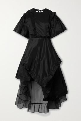 Preen by Thornton Bregazzi Gloria Asymmetric Cutout Ruffled Taffeta And Organza Dress - Black