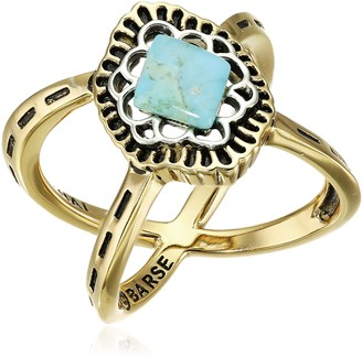 Barse Turquoise Two-Tone Criss Cross Ring Size 6