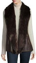 Neiman Marcus Faux-Fur Trim Vest, Brown