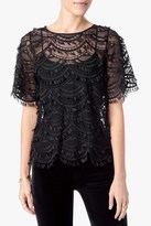 7 For All Mankind Boatneck Lace Top In Black