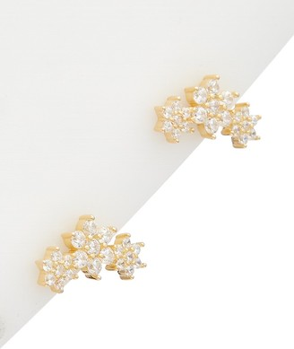 Alanna Bess Limited Collection 14K Over Silver Cz Flower Studs