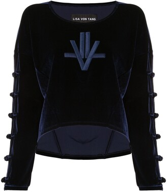 Lisa Von Tang Embroidered Velour Jumper