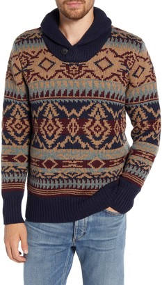 Schott NYC Shawl Button Collar Print Wool Blend Sweater