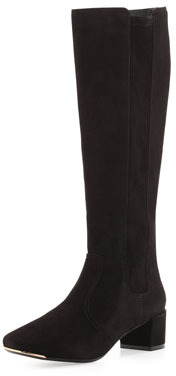 Tory Burch Ireland Suede Stretch Boot, Black