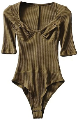 Goodnight Macaroon 'Emily' Ribbed Knit Bodysuit (5 Colors)