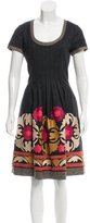 Oscar de la Renta Embroidered Wool Dress