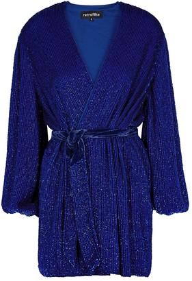 retrofete Gabrielle Blue Sequin Mini Wrap Dress