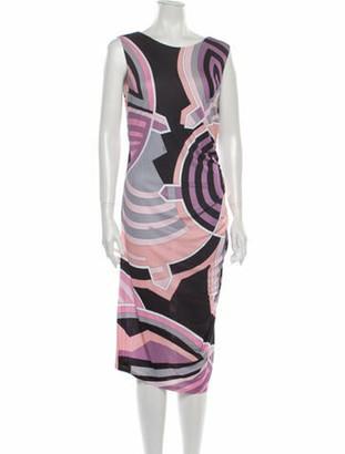 Emilio Pucci Printed Midi Length Dress Purple