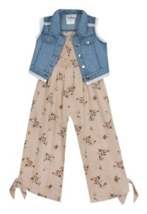 Rare Editions Toddler Girl Printed Chiffon Jumpsuit With Denim Vest