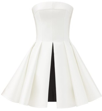 Rasario Strapless Pleated Duchess-satin Mini Dress - White