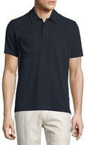 Billy Reid Solid Short-Sleeve Pique Polo Shirt, Navy