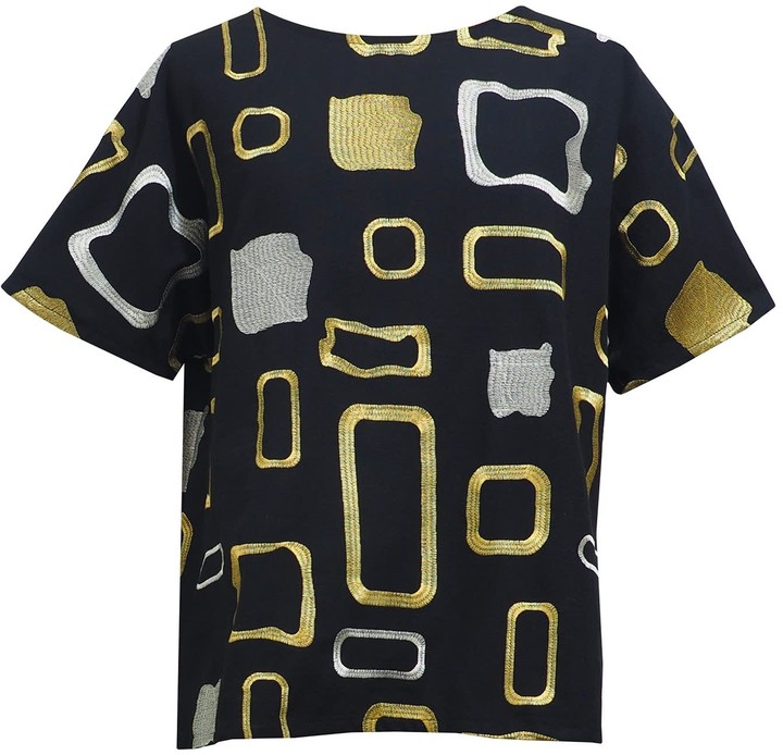 10Y Egg New York Clarissa Top in Navy with Silver and Gold Metallic Trim