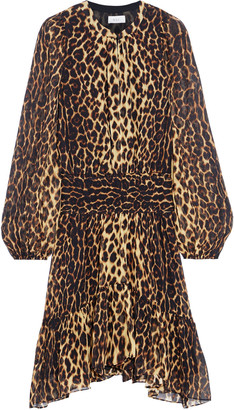 A.L.C. Sidney Asymmetric Shirred Leopard-print Silk-crepon Dress
